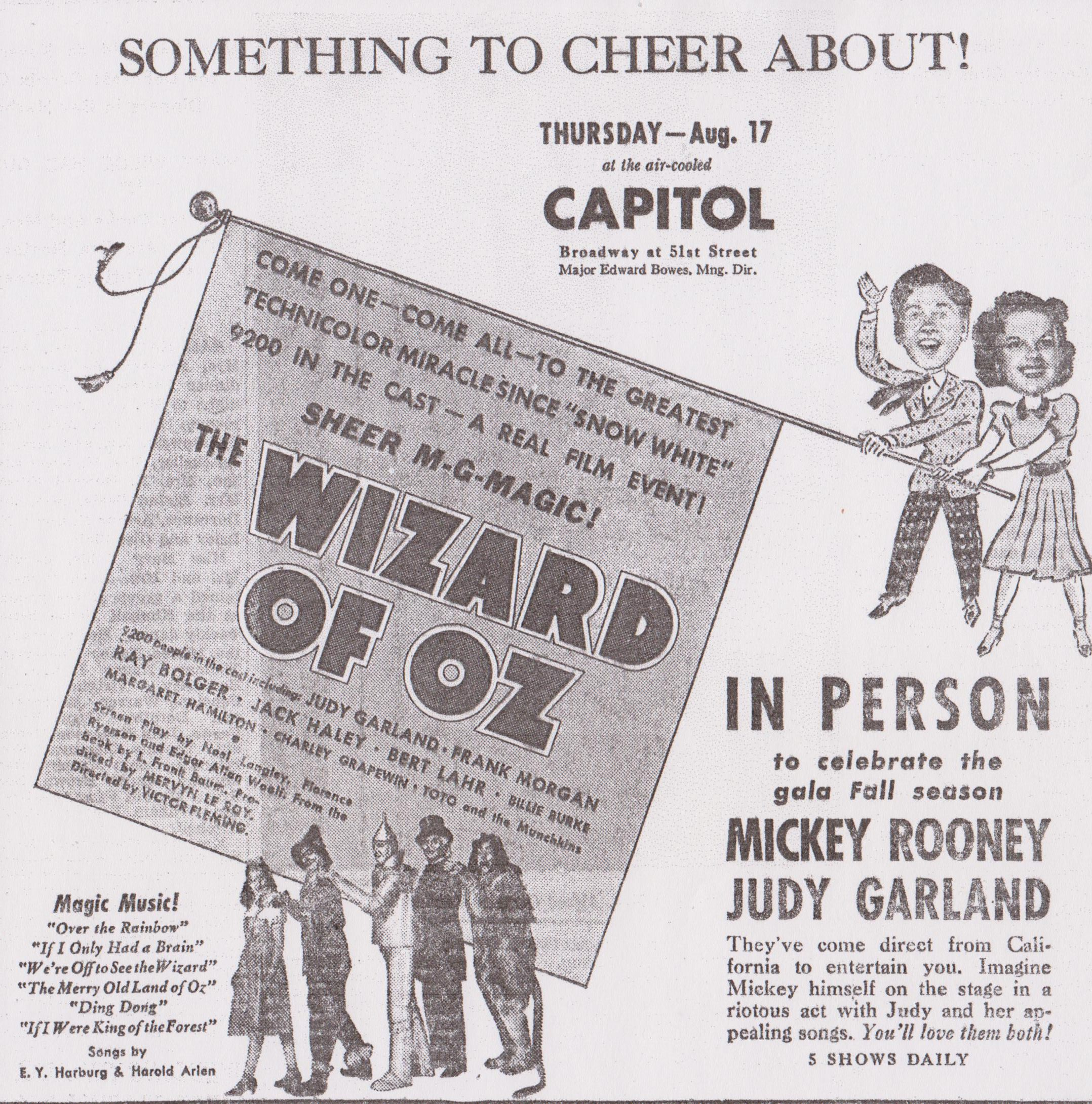 Fabric Block Wizard of Oz We/'re off to See the Wizard Sheet Music